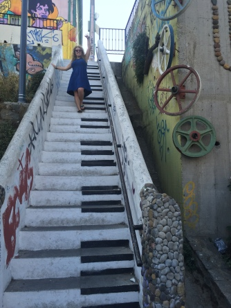 playing a song on the stairs
